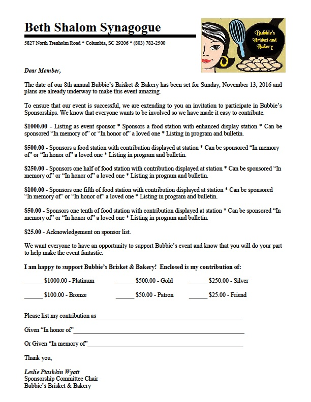 Bubbies Sponsorship Form for Members - 2016