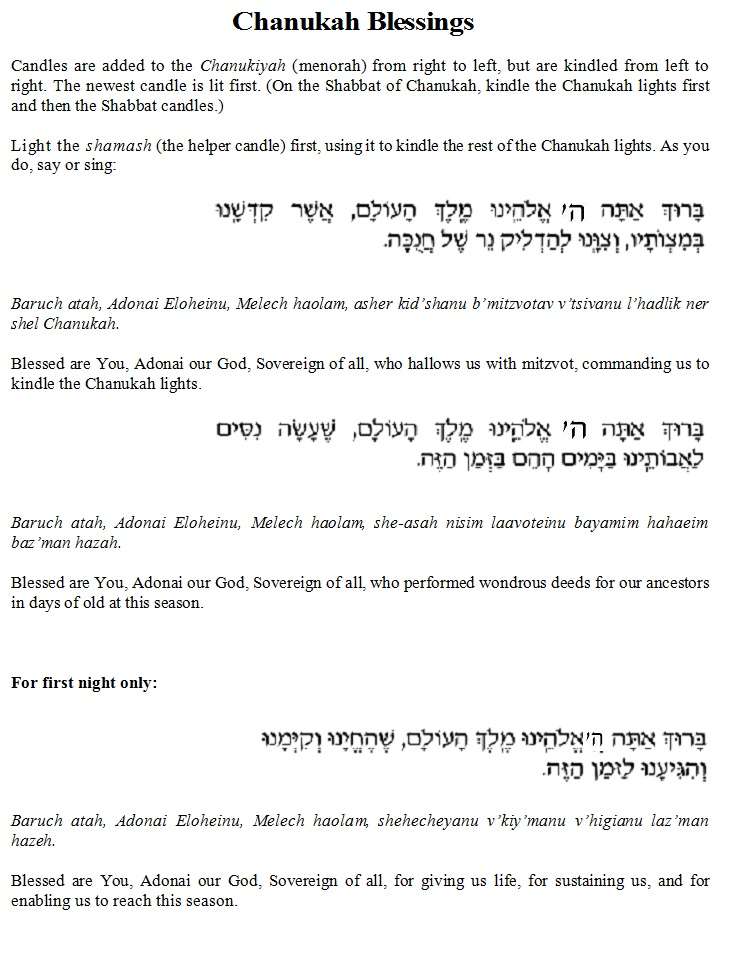 photo regarding Hanukkah Prayer Printable called Chanukah Blessings